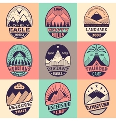 Mountain badge set2color1 vector