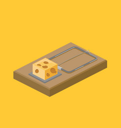 Mousetrap and cheese isometric vector