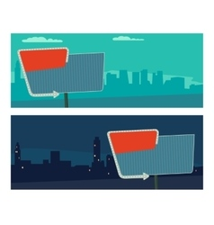Night sign with an arrow Billboard in retro style vector image vector image
