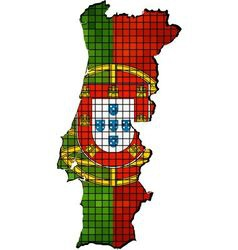Portugal map with flag inside vector image vector image
