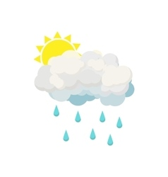 Rain cloud and sun icon cartoon style vector