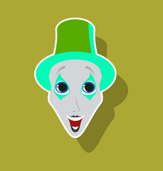 Realistic paper sticker on theme humor clown mime vector