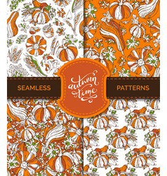 Seamless autumn harvest patterns set vector
