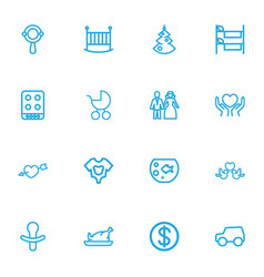 Set of 16 editable folks outline icons includes vector