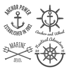 Set of retro vintage nautical labels and badges vector image