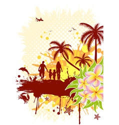 summer frame with palm tree dolphin crab family ve vector image