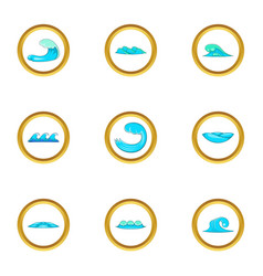 Water elements icons set cartoon style vector