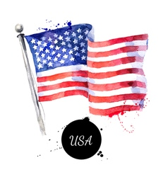 Watercolor USA flag Hand drawn Flag of America on vector image vector image