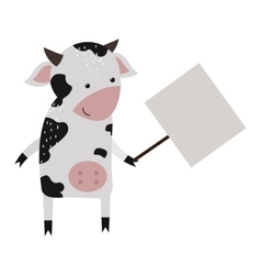 Wild animal cow strike with clean plate board vector