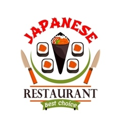 Japanese food restaurant icon best choice label vector