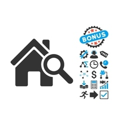 Explore house flat icon with bonus vector