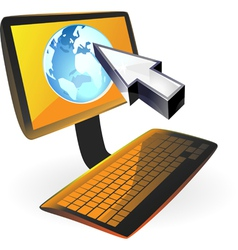 Computer with globe and cursor vector image
