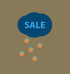 flat icon of sale gift rain vector image
