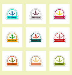 Set of label icon on sticker kitchenware vector