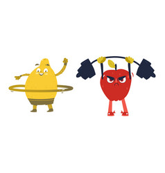 apple and lemon characters doing sport exercises vector image