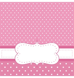Pink invitation card with polka dots vector image