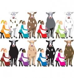 ladies milking cows vector image