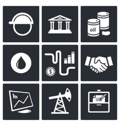 Sale of petroleum products icon collection vector