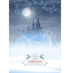Christmas winter castle moonlight sky vector