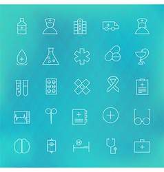 Health care and medical line icons set over vector