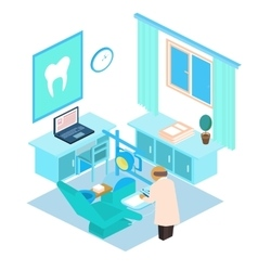 Isometric dental clinic color vector