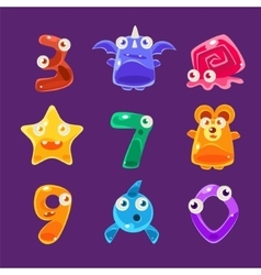 Digit shaped animals and other jelly creatures set vector