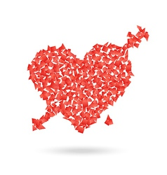 Abstract red heart with the arrow valentines vector