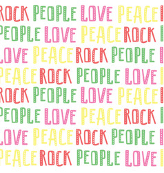 abstract seamless pattern of words rock people vector image vector image