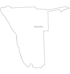 Black White Namibia Outline Map vector image