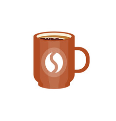brown ceramic mug of coffee with coffee bean logo vector image