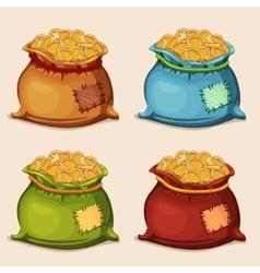 Cartoon colors full bag of gold coins vector