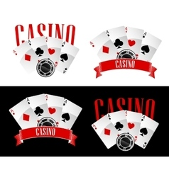 Casino icons with playing cards and chip vector image