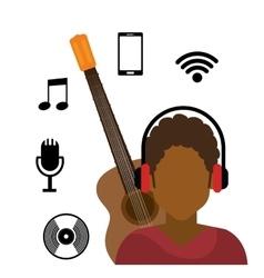 Character afro boy headphone wifi music cd vector