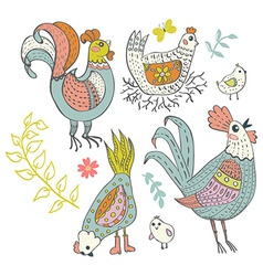 Chicken and rooster cartoon vector image