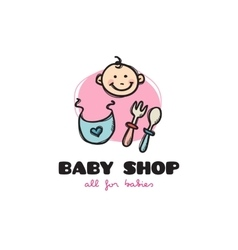 funny cartoon style baby shop logo Sketchy vector image vector image