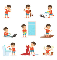 Funny little kid playing games and making mess vector