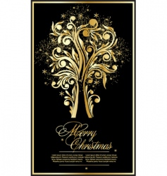 gold vector Christmas tree vector image vector image