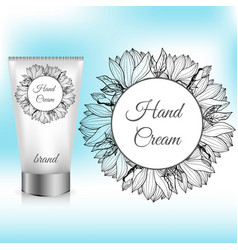 hand cream packaging with magnolia wreath vector image vector image