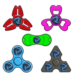 Hand spinner toys with volleyball ball flat vector