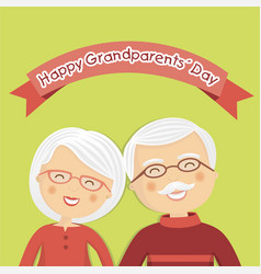 Happy grandparents day with white hair vector