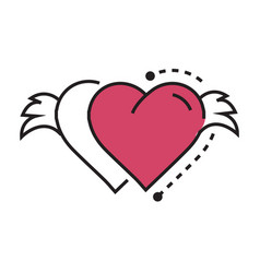 Icon twins hearts wings pink vector