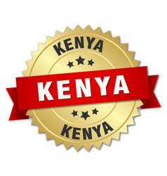 Kenya round golden badge with red ribbon vector