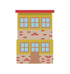 Light color silhouette of house of two floors vector