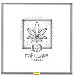 medical marijuana logo black seven vector image vector image