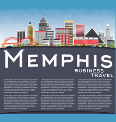 Memphis skyline with color buildings blue sky and vector