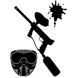 Paintball set black and white vector