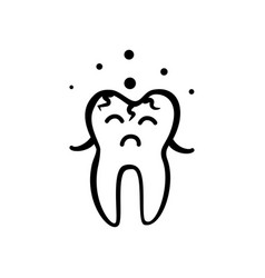Sad tooth icon vector