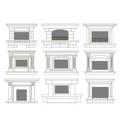 Set of fireplace icons and fireplace design vector image vector image