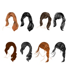 Set of four long hair natural and silhouette vector image
