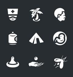 Set of zik virus icons vector